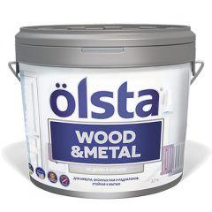 Краска Olsta Wood and Metal Полуглянцевая Белая база A 2,7 л