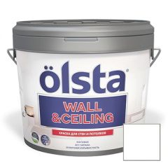 Краска интерьерная Olsta Wall and Ceiling Белая 2,7 л